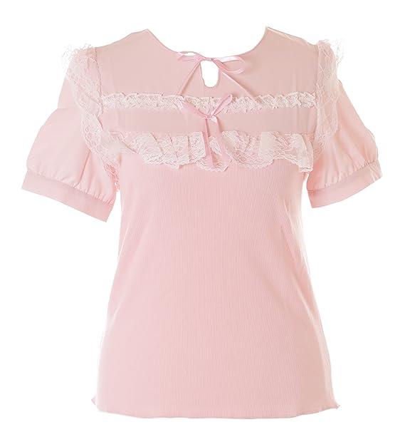 Kawaii-Story - Camiseta - Redondo - para Mujer Rosa Rosa Talla única