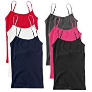 Unique Styles Camisoles for Women 6 Pack – Basic Solid Layering Cami Tank Tops (3X, Black, Grey, Pink, Navy, Red, White)