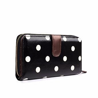 Cartera de hule Miss Lulu, con lunares, cartera plegable con cremallera, monedero Big Polka Dots Black M: Amazon.es: Ropa y accesorios