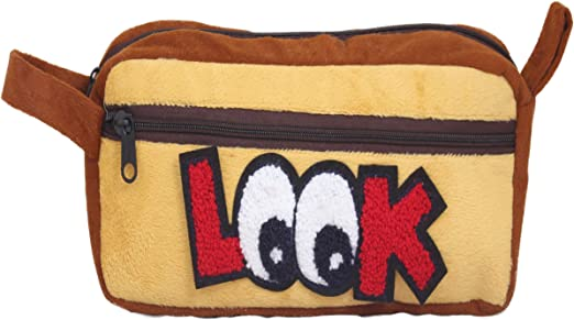 Tickles Yellow Pencil Case, Pencil Pouch for Teens Big Capacity Pen Bag with 2 Zipper 25 cm