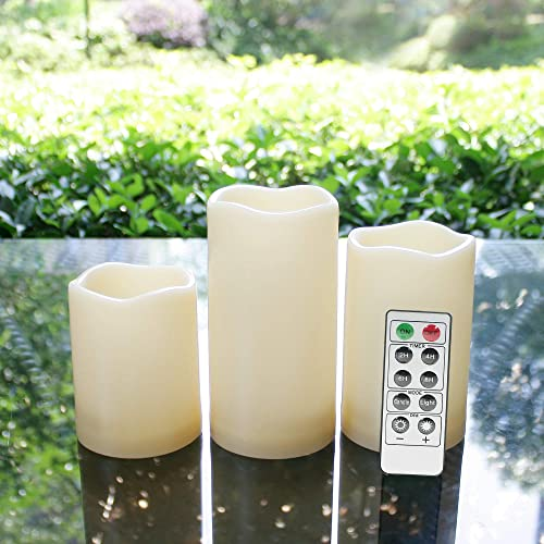 Outdoor Flameless LED Candles with Remote and Timer – Waterproof Realistic Flickering Battery Operated Electric Plastic Resin Pillar Candles Decorative Lights for Halloween Christmas Decor 3-Pack