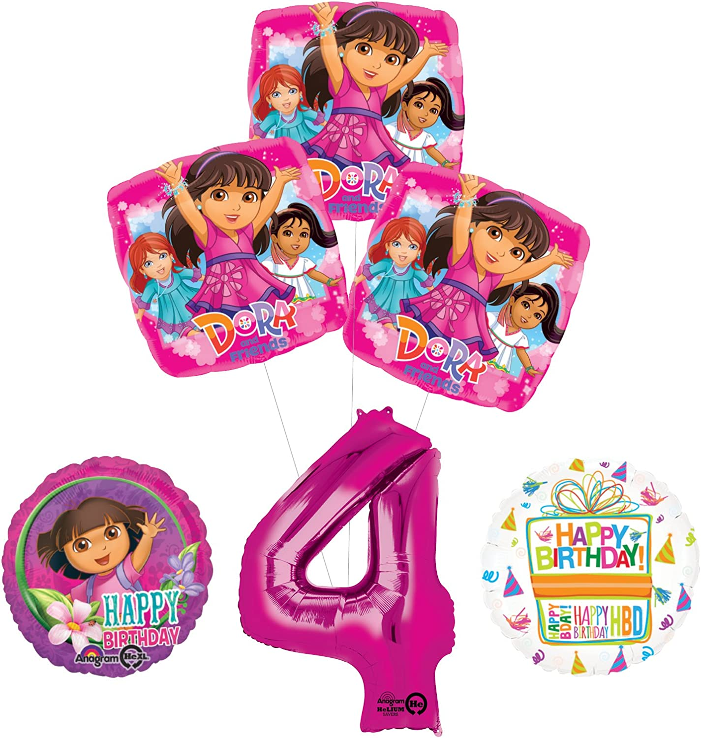 Dora the Explorer 4th Birthday Party Supplies and Balloon Bouquet Decorations