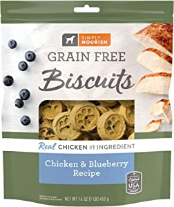 SIMPLY NOURISH (1) Grain Free Biscuits Chicken & Blueberry Recipe 1-16oz Resealable Bag