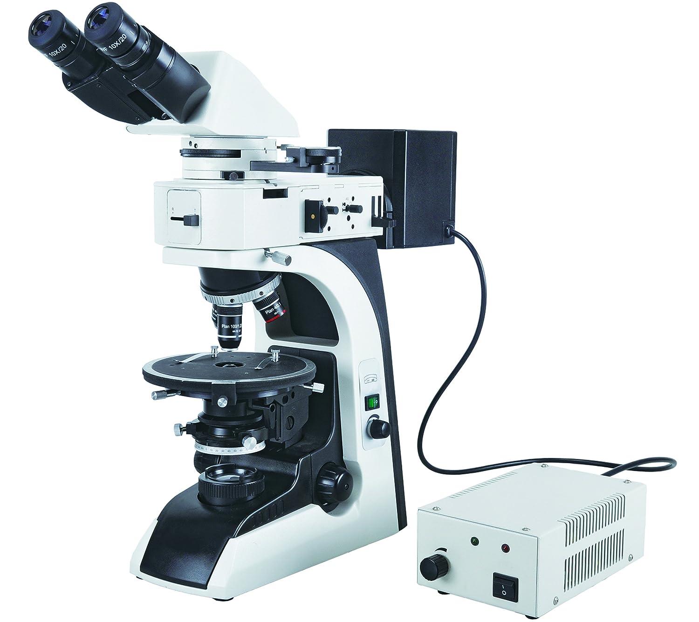 BestScope BS 5070BTR Polarizing Siedentopf Binocular Compound Microscope WF10x Eyepieces Strain Free Infinity Plan Objectives Bertrand Lens 40x 600x Magnification Halogen Illumination Abbe Condenser Iris Diaphragm Round Stage 110V