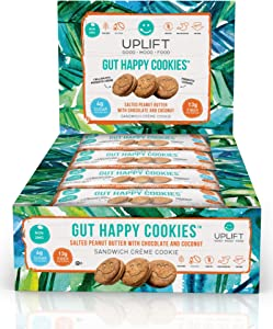 Uplift Food - Gut Happy Cookies (12pk of 3 Cookie Sleeves) - Prebiotics + Probiotics - Salted Peanut Butter with Chocolate and Coconut