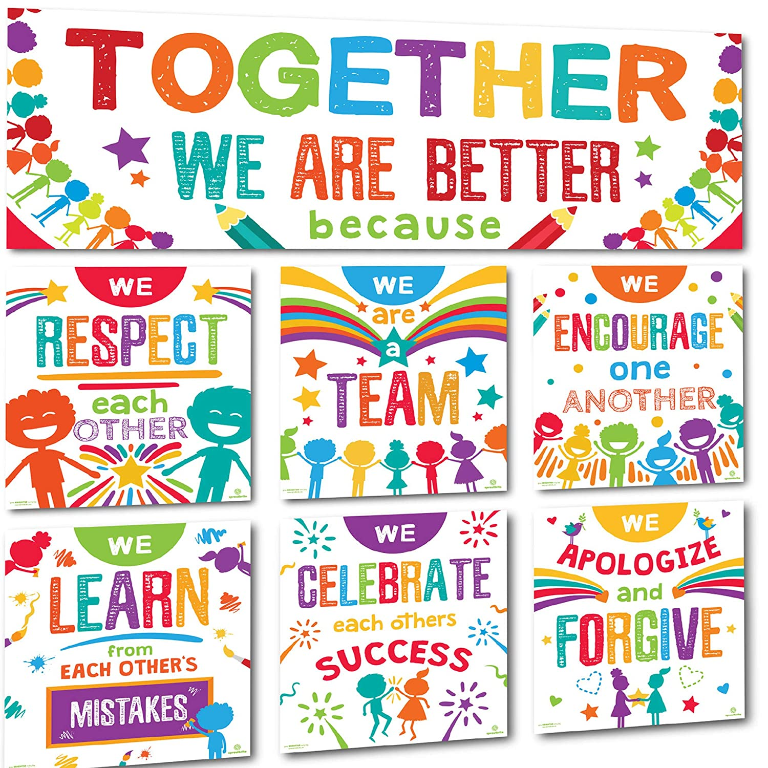 Sproutbrite Classroom Banner Decorations and Poster Bulletin Board Set - Together We are Better