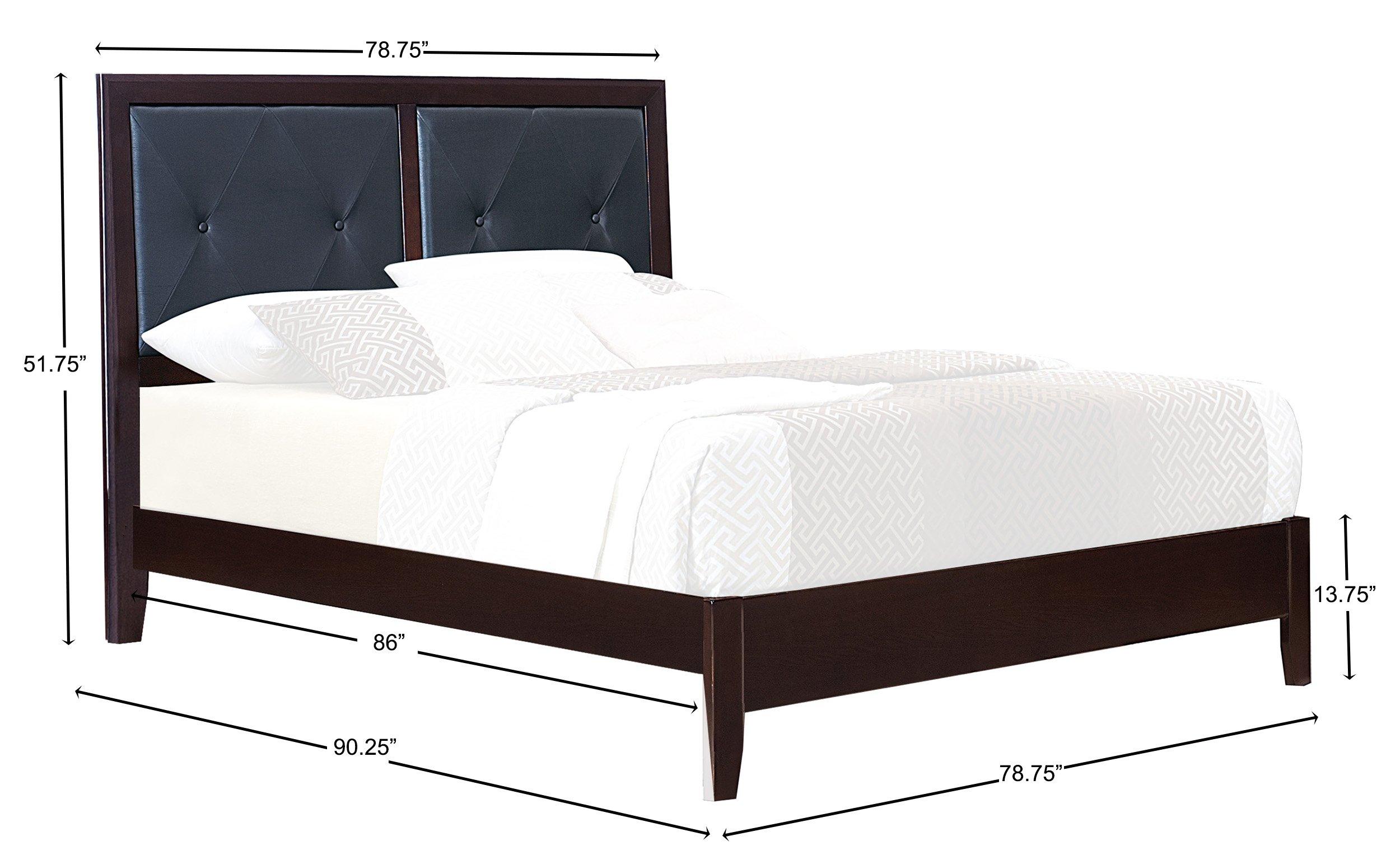 Homelegance Edina Faux Leather Upholstered Faux Leather Upholstered California King Bed, Dark Cherry