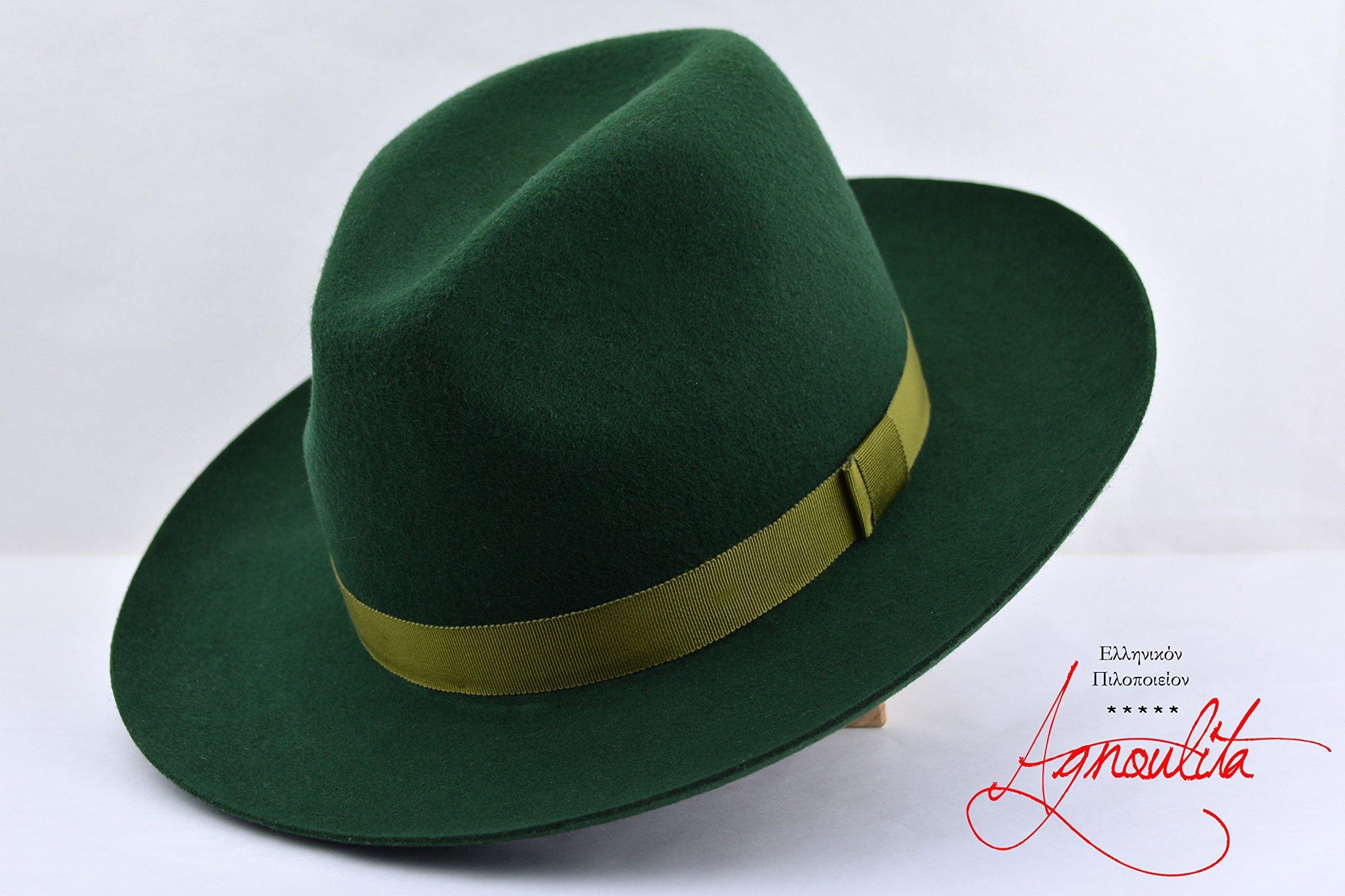 Forest Green Western Fedora - Wide Brim Pure Wool Felt Handmade Fedora Hat