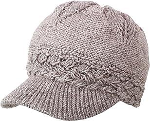 ba5b8958b80 J Fashion Accessories Women s Chunky Knitted Metallic Thread Double Layer  Visor Beanie Hats