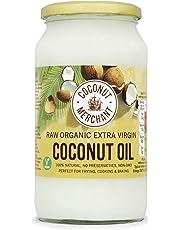 Olio di Cocco Biologico Extra Vergine 1L | Crudo e Spremuto a Freddo | Organico e Puro al 100% | Ideale sui Capelli, sul Corpo e ad Uso Alimentare | COCONUT MERCHANT
