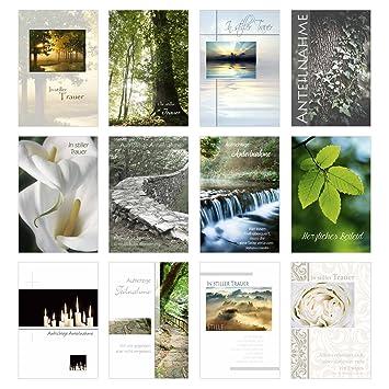 Set 12 Einfühlsame Trauerkartenbeileidskarten Mit Umschlag