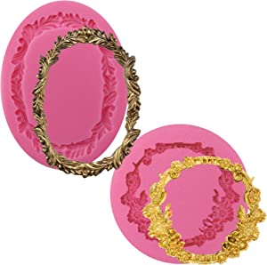 FUNSHOWCASE Round and Oval Floral Acanthus Picture Frame Fondant Silicone Mold for Sugarcraft, Resin Epoxy, Polymer Clay Crafting Projects 2-Count
