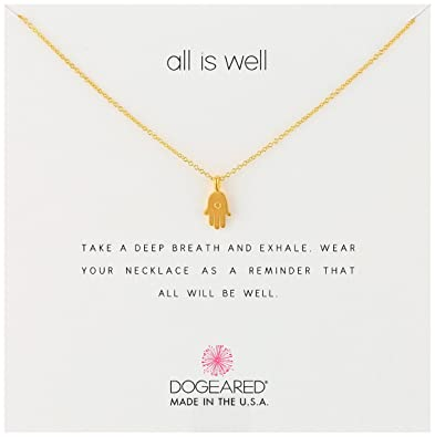 "Amazon.com: Dogeared Reminders- ""All is Well"" Gold Dipped Hamsa Charm Necklace, 16""+2"" Extender: Hamsa Jewelry: Jewelry"