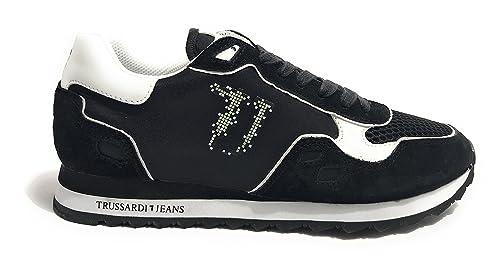 codice promozionale seleziona per autentico up-to-date styling Trussardi Jeans Scarpe Uomo Sneaker Running Tessuto E Pelle ...