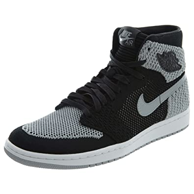 9f44f58c289e Image Unavailable. Image not available for. Color  Jordan Nike Men s Air 1  Retro Hi Flyknit Black Grey ...