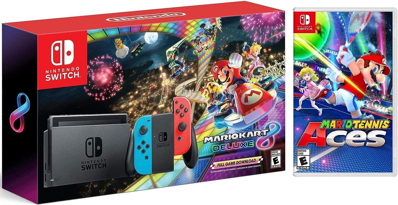 Nintendo Switch w/Red & Blue Joy-Con + Mario Kart 8 Deluxe (Full Game Descargar) + Mario Tennis Aces Game Bundle: Amazon.es: Informática