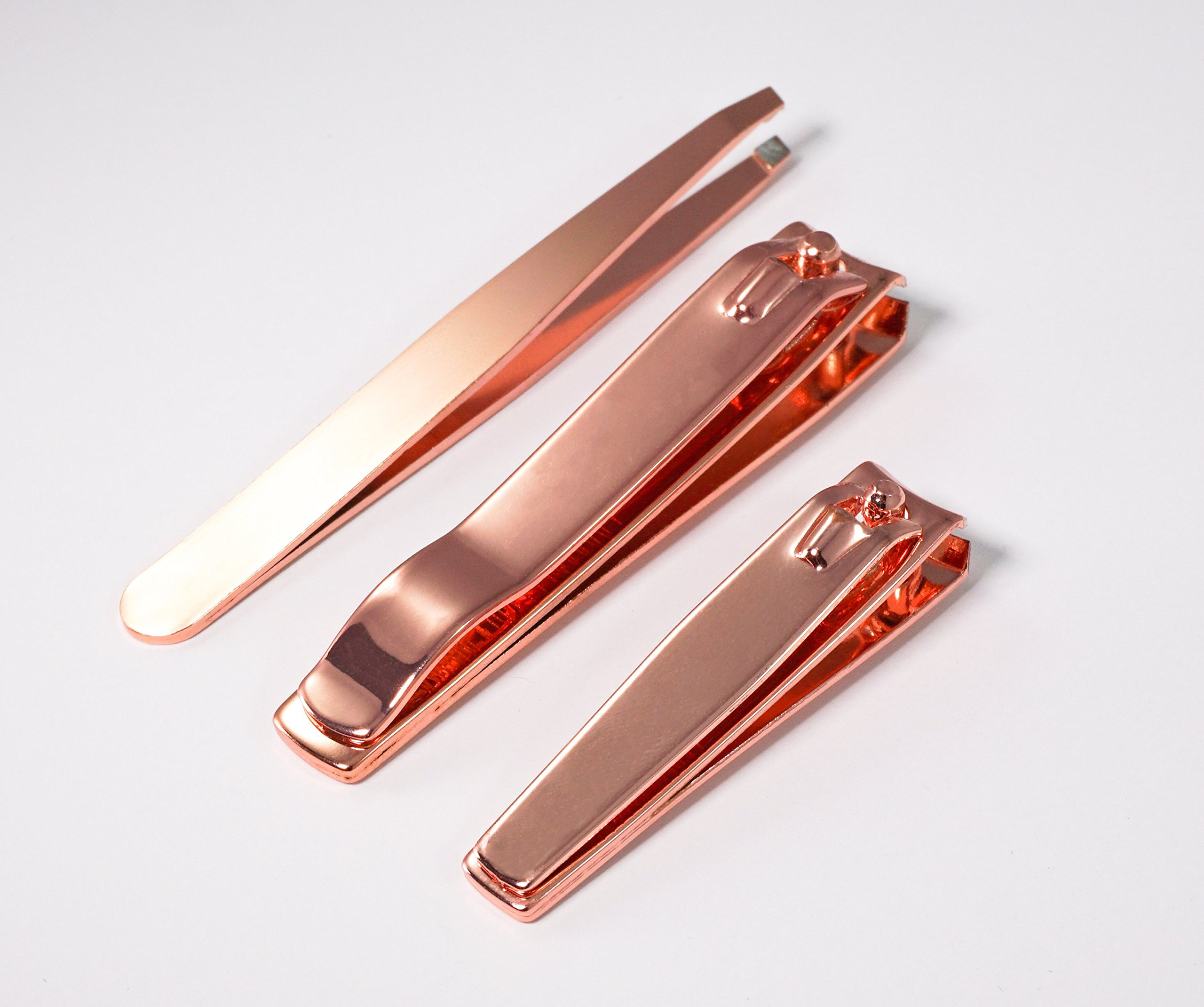 Lavenka Rose Gold Nail Clippers – Set of 3 Tools - Stainless Steel Fingernail and Toenail Clippers and FREE BONUS Precision Tweezers - For Women and Men – Leather Case Included