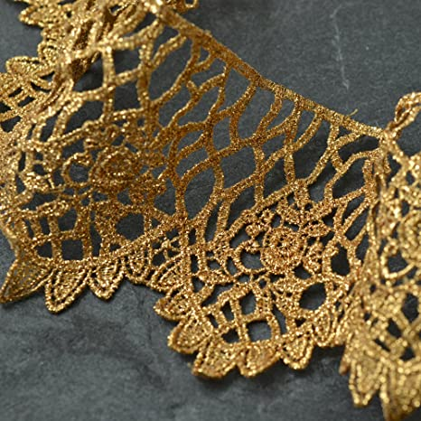Metallic Gold Lace Trim for Bridal Costume or Jewelry Crafts and Sewing LP-MX-3399 3 Inch by 1 Yard