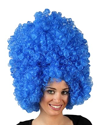 Big blue afro wig for adults  Amazon.co.uk  Clothing dcf85dc6d