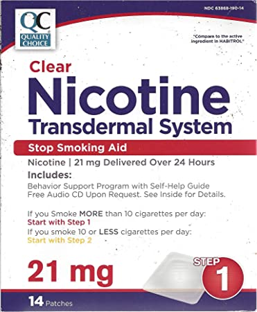 QC Clear Nicotine Transdermal System ~ Step 1 21mg Nicotine time released ~  14 patches 2
