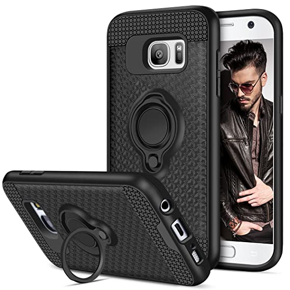 promo code 5ff0b 64e97 Galaxy S7 Case, Vofolen Galaxy S7 Case Ring Holder Kickstand Rotational  Clip Hybrid Shield Heavy Duty Armor Dual Layer Protective Hard Shell TPU ...
