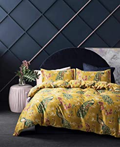 Eikei Home Chinoiserie Chic Peacock Floral Duvet Cover Paradise Garden Botanical Bird and Tree Branches Vintage Stylized Long Staple Cotton Bedding Set (Oversized King, Citrine)