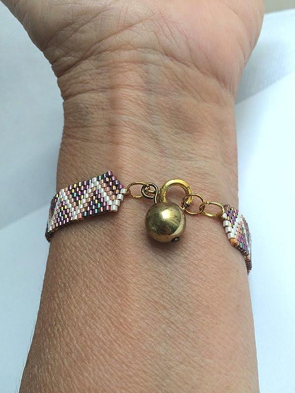 Bracelet cuff for women nature bracelet miyuki bracelet with pink flowers