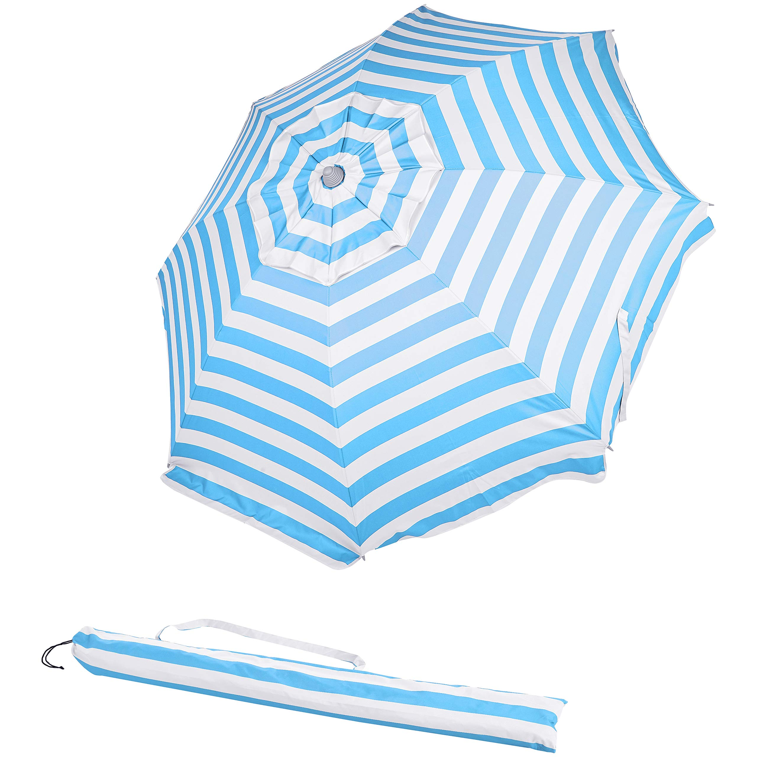 AmazonBasics Beach Umbrella - Light Blue Striped