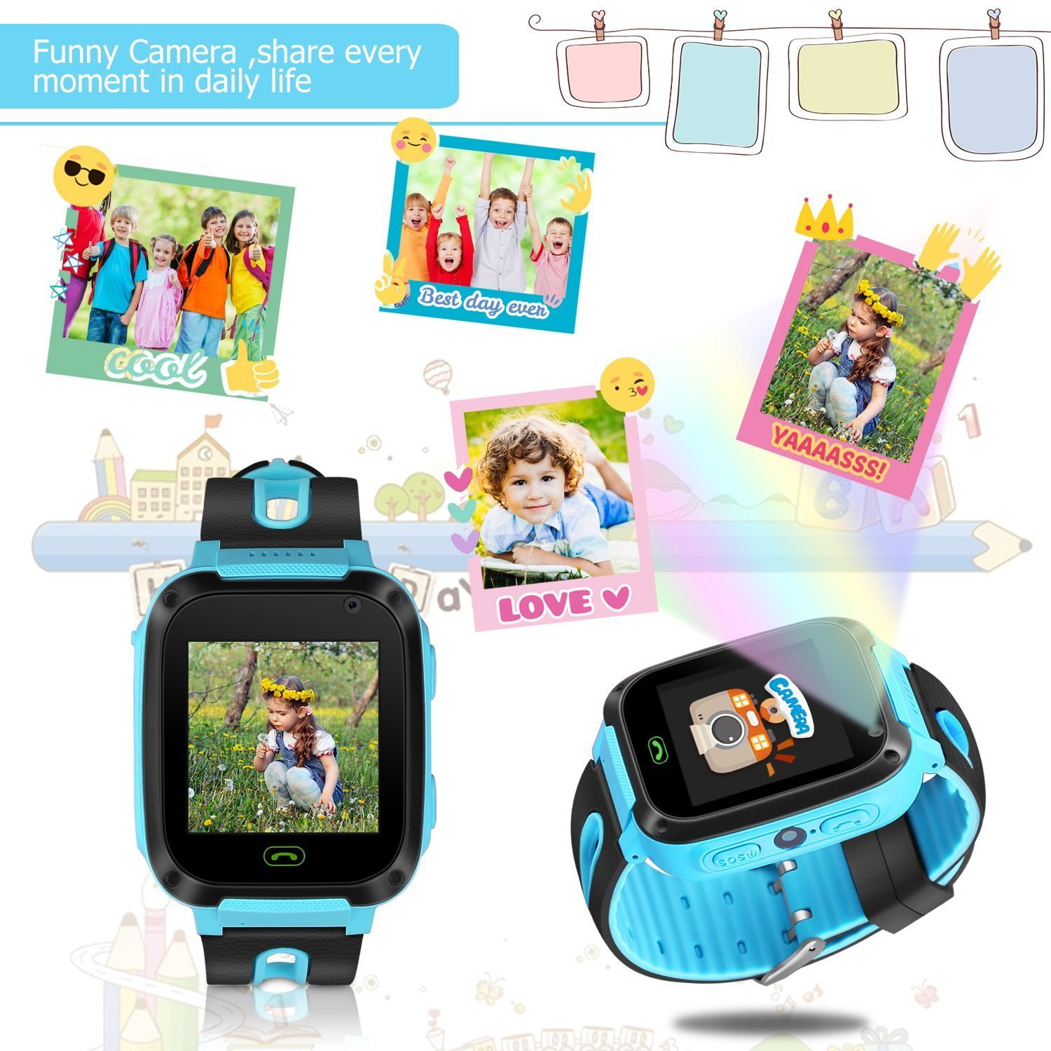 Kids Smart Watch Phone - Kids GPS Tracker Smartwatch for Girls Boys with Mobile Phone SOS Anti-lost Camera Game Touch Screen Children Outdoor Digital Wrist Watch Bracelet for Summer Holiday Gift by Kidaily (Image #7)