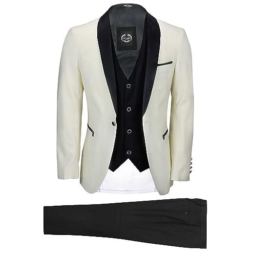Amazon Mens Ivory Cream Black 3 Piece Tuxedo Suit Wedding Prom
