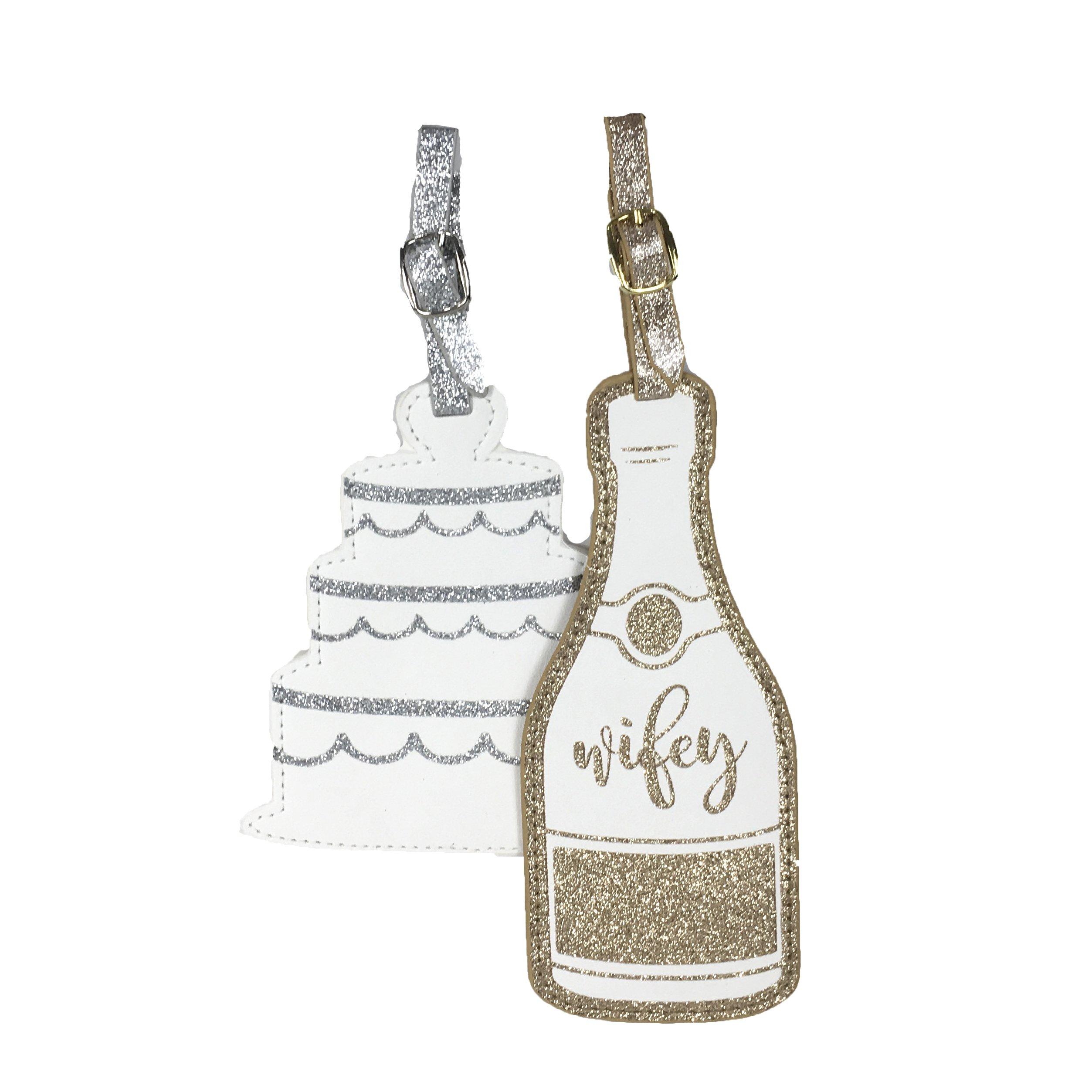 Sparkle Wifey & Wedding Cake Set of 2 Luggage Tags, Multi