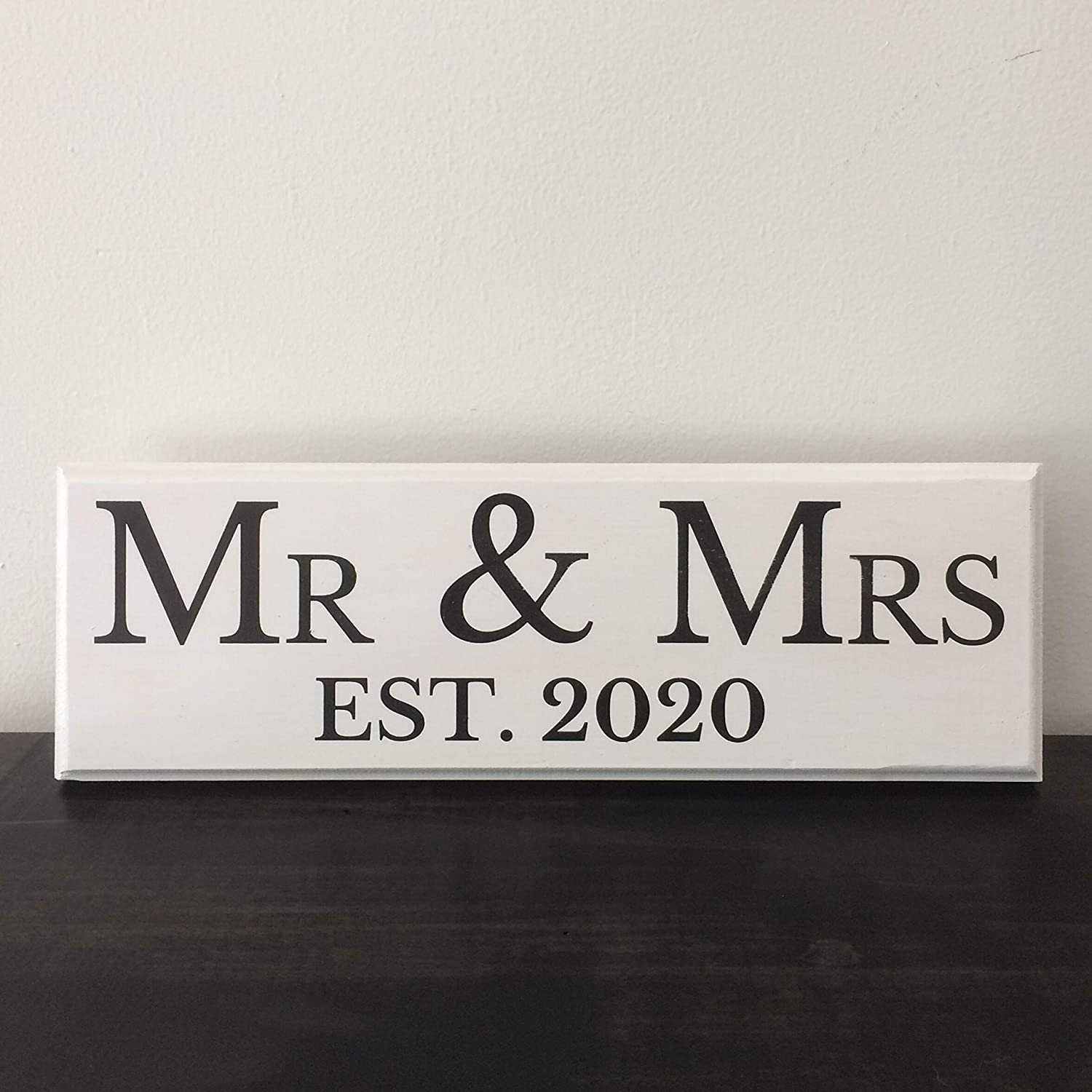Gift Box 2020 Wedding Signs Mr Mrs 2020 Brown New Logo Hanger and Stand Included Handcrafted Sign Let the Fun Begin Mr /& Mrs Est Bridal Shower Engagement Gifts