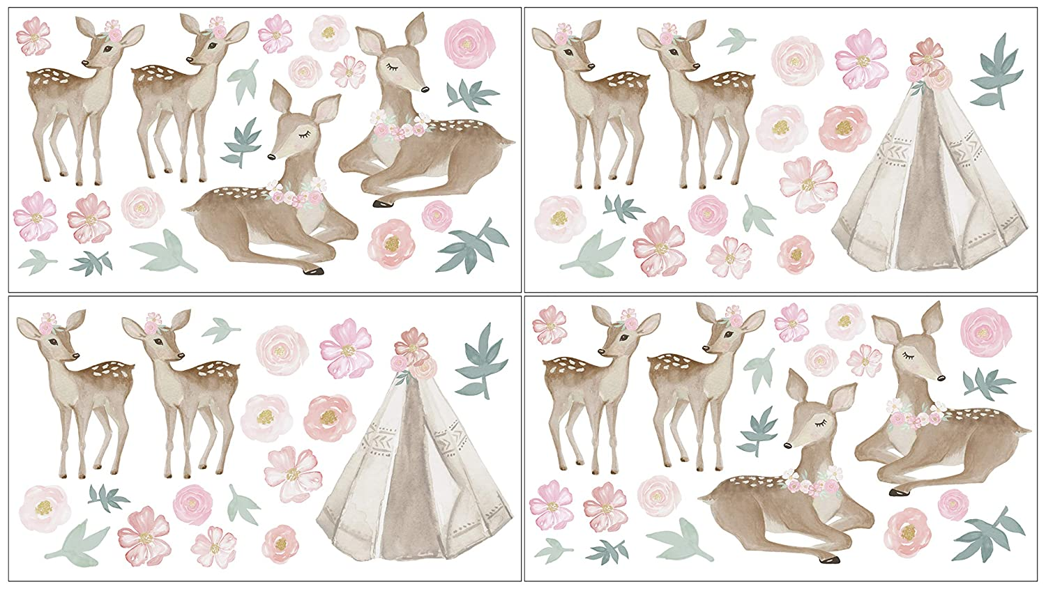 Sweet Jojo Designs Boho Woodland Deer Floral Peel and Stick Wall Decal Stickers Art Nursery Decor - Set of 4 Sheets - Blush Pink, Mint Green and White