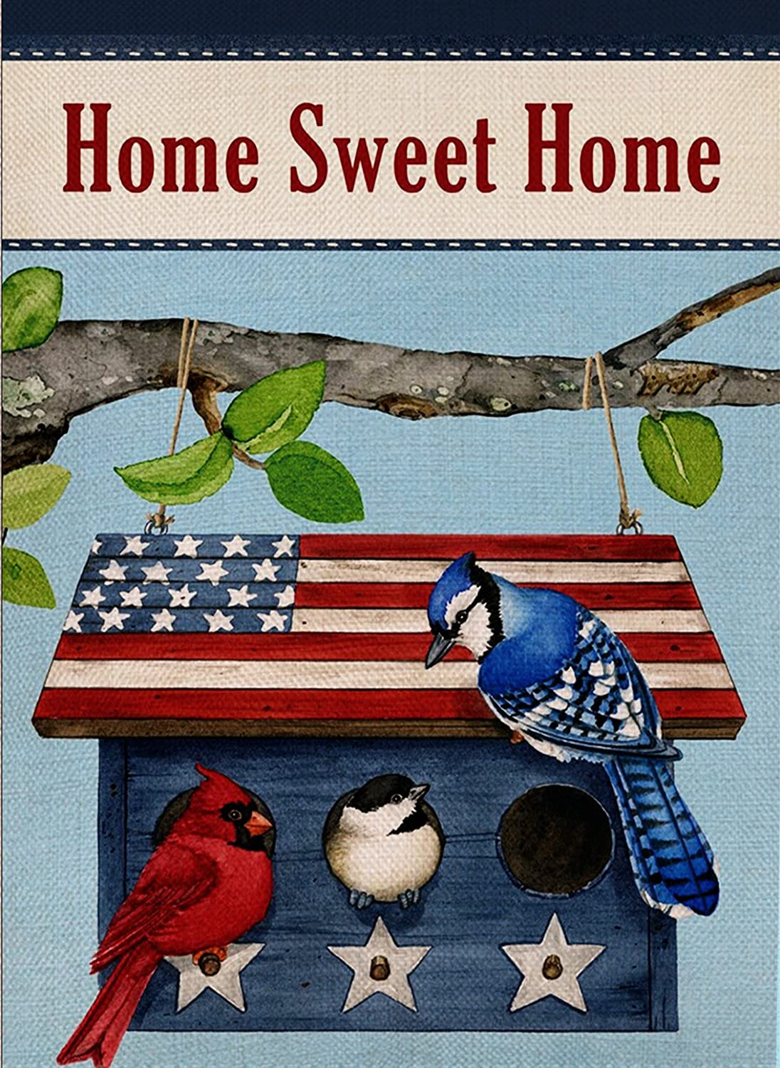 Dyrenson Decorative Outdoor Home Sweet Home Quote Garden Flag Double Sided, Red Cardinal Blue Jay House Yard Flag, Patriotic Garden Yard Decorations, Seasonal Outdoor Flag 12 x 18 for Spring Summer
