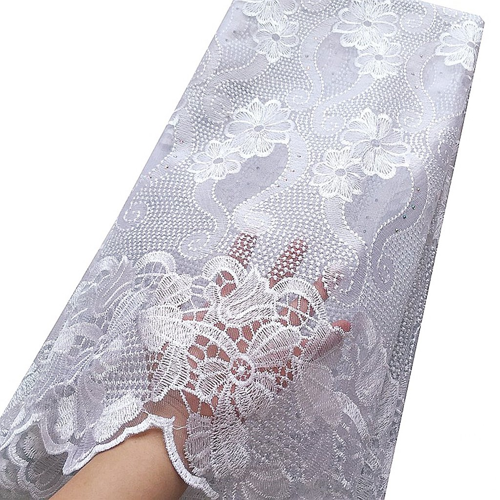 WorthSJLH White Lace Fabric 2019 Latest Net African Lace Fabric Swiss Voile Lace Fabrics in Switzerland Weddings Nigerian Lace (1154) by WorthSJLH