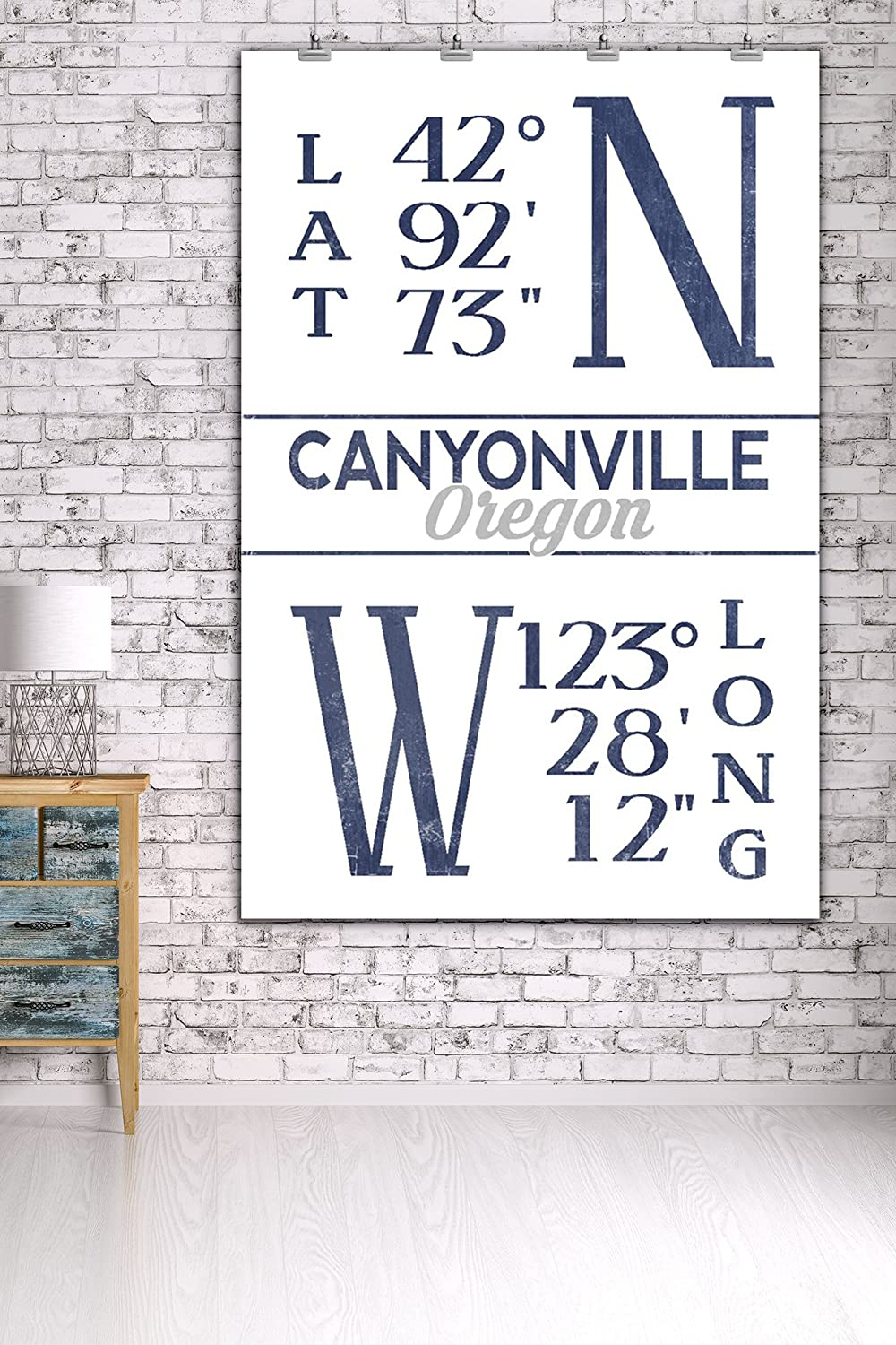 36x54 Giclee Gallery Print, Wall Decor Travel Poster Blue Latitude and Longitude Canyonville Oregon