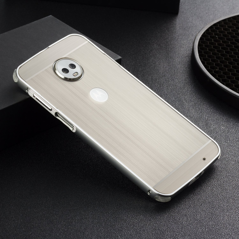 DAMONDY Moto Z3 Play Case, Luxury Ultra thin Imitation Metal Brushed Premium Aluminum Shockproof Protective Bumper Hard Back Case Cover for Motorola Moto Z3 Play-Silver by DAMONDY (Image #2)