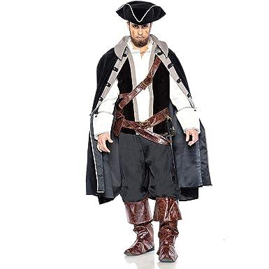 Amazon.com: Disfraz de capitán pirata rojo para adultos ...