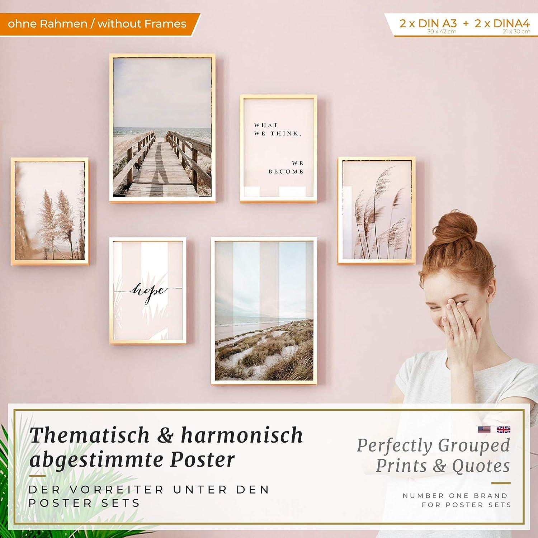 Bureau Salon 2 x | sans Cadres /»Dunes Plage Mer /« 30x42cm et 4 x 21x30cm Heimlich/® Tableau D/écoration Murale Chambre Set de Poster Premium pour la Maison Cuisine