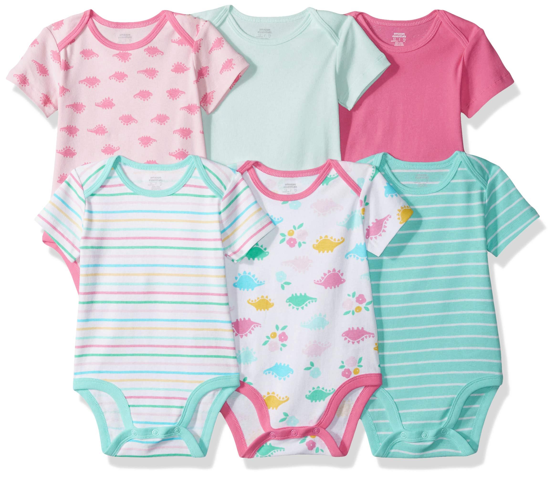 Amazon Essentials Girls' Infant Short-Sleeve Bodysuits