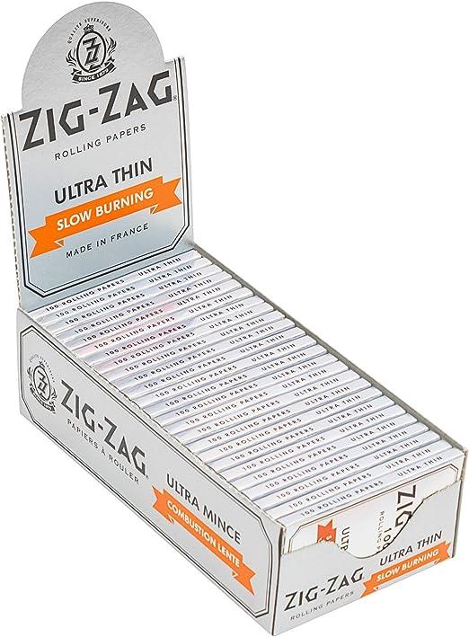 25 paquetes de Zig Zag Ultra Thin – Papel de liar – 100 hojas/pack Slow Burning: Amazon.es: Hogar