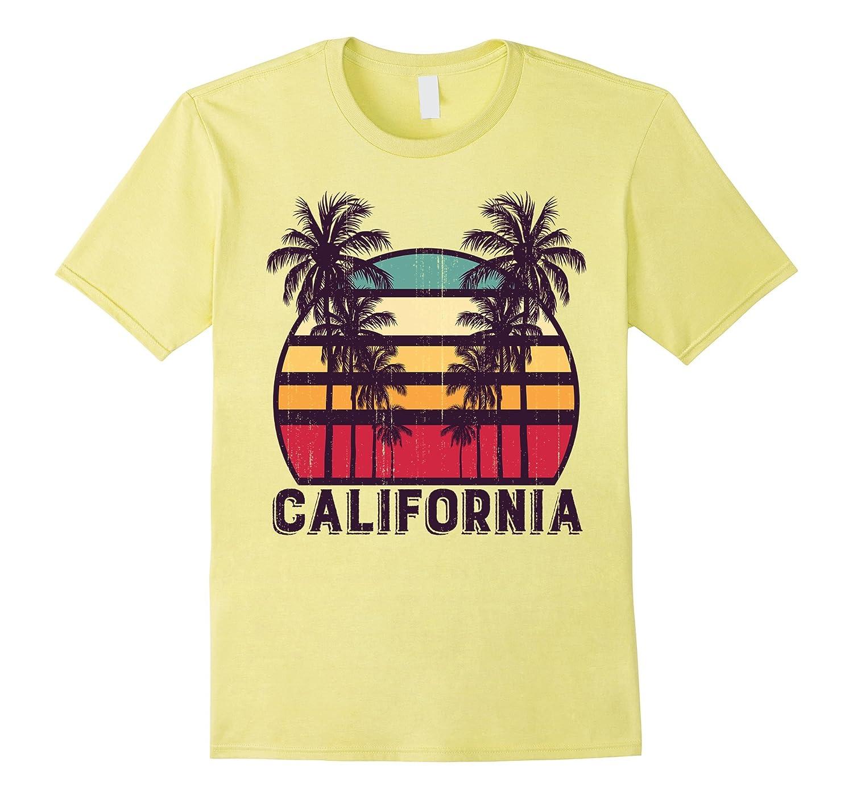California CA Retro 70's Vintage Skyline Surf Tee Shirt-Art