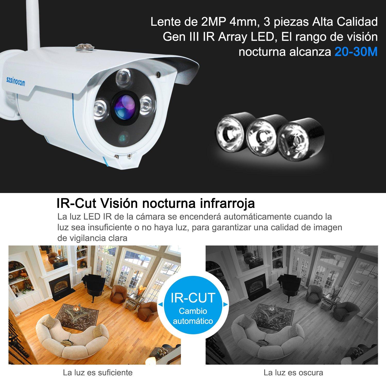 Cámaras de Vigilancia Wifi, SZSINOCAM Cámaras de Vigilancia Interior/Exterior HD 1080P P2P IP66 Detección de Movimiento,Seguridad para casa,IP CCTV Sistema ...