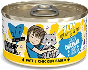 B.F.F. PLAY - Best Feline Friend Paté Lovers, Aw Yeah!, Chicken Checkmate with Chicken, 2.8oz Can (Pack of 12)
