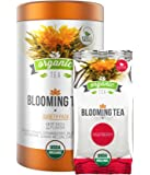 Organic Blooming Tea - 14-Count Variety Pack of Flowering Tea in a Gift Canister - 100% Organic Calendula Flowers and Green Tea Leaves in Hand Sewn Blooming Tea Balls from Kiss Me Organics