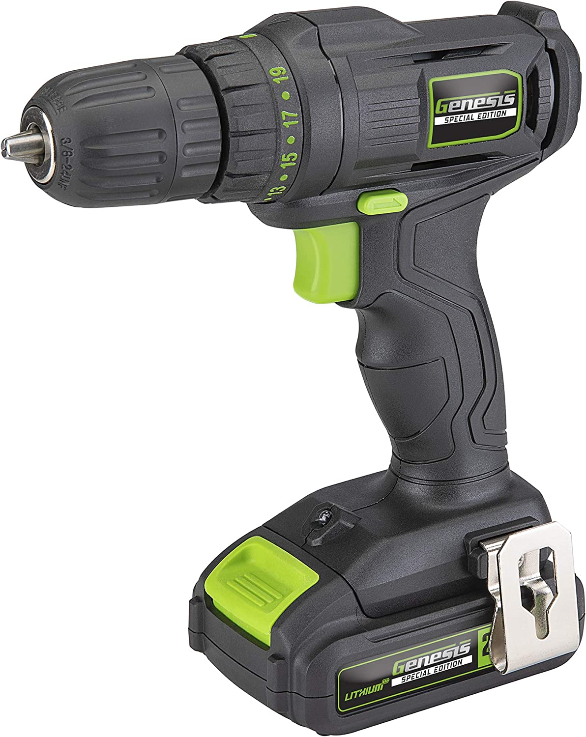 Genesis GLCD20CSE Special Edition 20V Lithium-Ion Cordless Drill/Driver with Built-in LED Light, Removable/Rechargeable Battery,