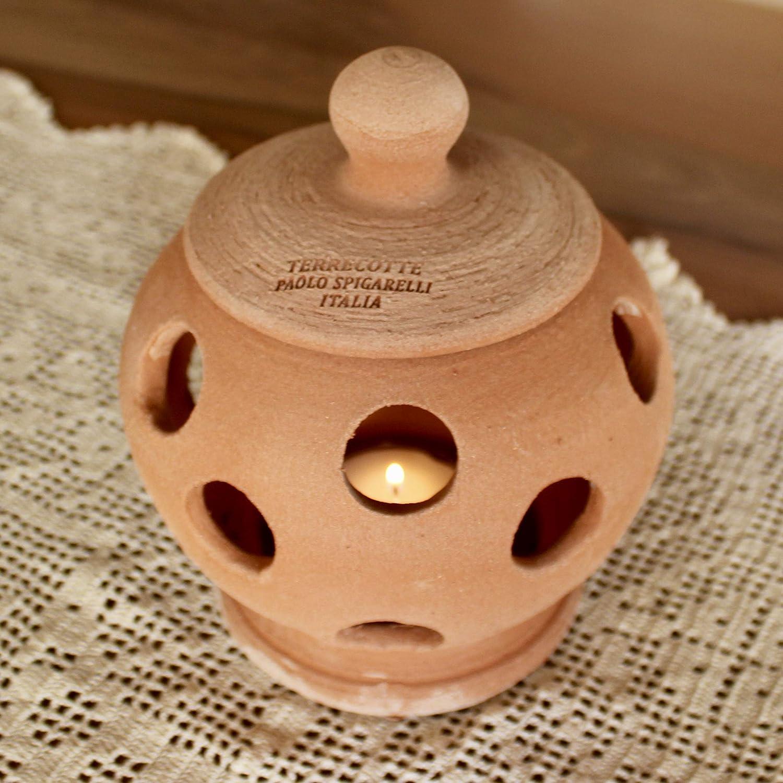 alta 20 cm, diametro 16 cm Lanterna da tavolo Terracotta con coperchio 100/% made in Italy lavorato a mano al tornio Porta candele interno casa esterno giardino non a stampo