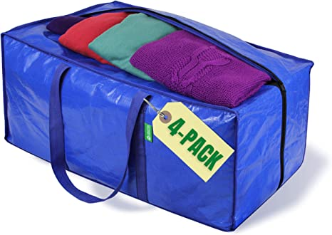 Jumbo Heavy Duty Moving Bags Clothing Storage Bags With Sturdy Zipper Better Than Moving Boxes Perfect Clothes Storage Bins Moving Supplies Extra Large Tote Bag For Packing Supplies 4 Pack Kitchen