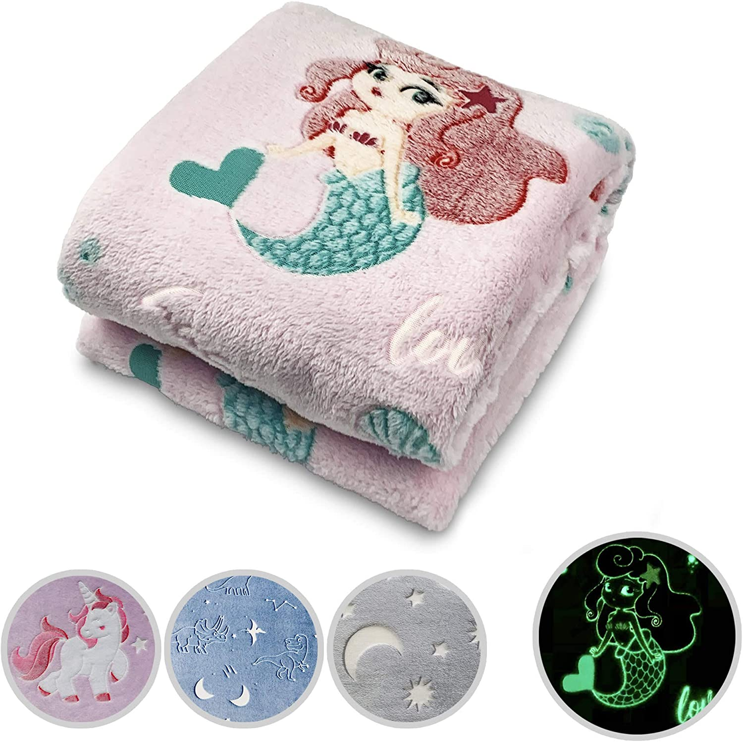 Glow in The Dark Throw Blanket Pink Mermaid Personalized Gifts for Girls Boys and Adults Cozy Super Soft Plush Fleece Throw Blanket for Everyday Use and Every Occasion (50x60 Inches) (Mermaid)