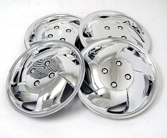 tuningpros wsc-083 C15 cromo Tapacubos rueda Skin Cover 15-inches plata conjunto de 4: Amazon.es: Coche y moto